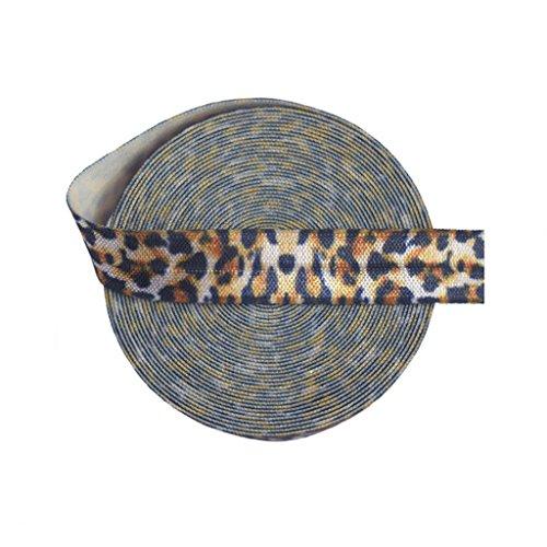 "DIY PARK 5 Yard 5/8"" Brown Leopard Animal Print Fold Over Elastic Spandex Satin Band Lace Trim Baby Headband Hair Tie Sewing Craft"