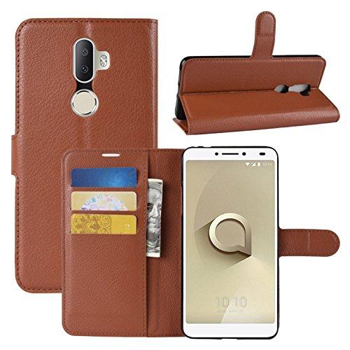 HualuBro Alcatel 3V Hülle, Leder Brieftasche Etui LederHülle Tasche Schutzhülle HandyHülle [Standfunktion] Handytasche Leather Wallet Flip Hülle Cover für Alcatel 3V (Braun)