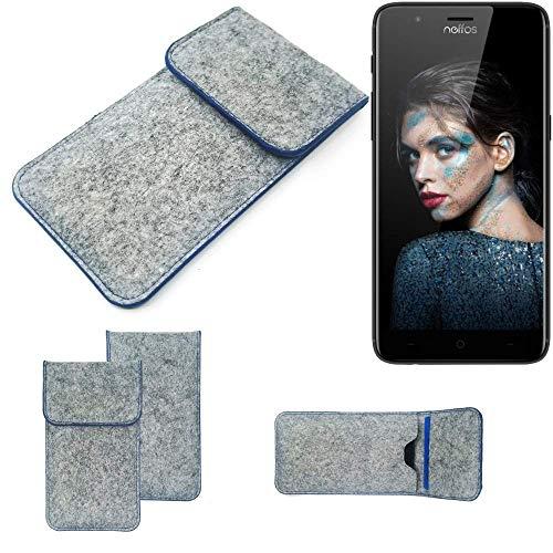 K-S-Trade® Filz Schutz Hülle Für TP-LINK Neffos N1 Schutzhülle Filztasche Pouch Tasche Case Sleeve Handyhülle Filzhülle Hellgrau, Blauer Rand
