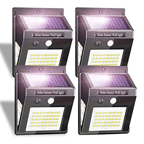iToncs Solarlampen für Außen, Außenleuchte mit Bewegungsmelder Wasserdicht IP65, Hell Kaltweiß 50 LED Solarleuchte Wandleuchte Aussen für Garten, Solar LED Strahler 3 Modi Außenlampe (4 Stück)
