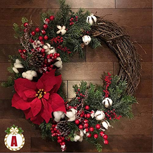 duibai Flower Artificial 30cm Christmas Wreath Handmade Rattan Pendant Garland Shopping Mall Christmas Tree Door Decoration Wreath (Color : A)