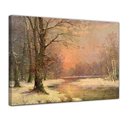 Keilrahmenbild Adolf Kaufmann Sonnenuntergang in Winterlandschaft - 120x90cm quer - Alte Meister Berühmte Gemälde Leinwandbild Kunstdruck Bild auf Leinwand