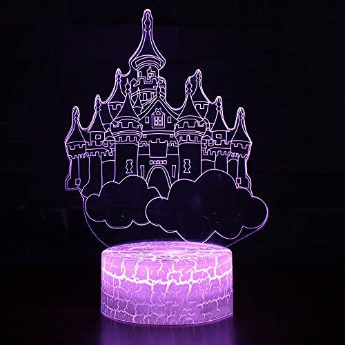 Bureau À La Maison Atmosphère Décor Creative 3D Veilleuse Led Coloré Cloud Castle Lampe De Table Usb Romantique Éclairage Éclairage Avec Télécommande