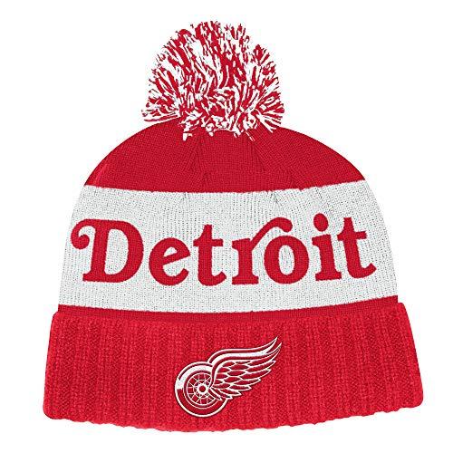 Adidas Detroit Red Wings - Gorro de punto con pompón para hombre
