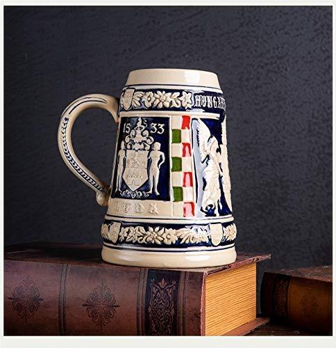 GPWDSN Jarra para Beber Regalos Hechos a Mano, Piedra de Alivio de la Taza de Piedra de Cerveza Alemana, Estatua de Escultura de Taza de Cerveza para la Oficina en casa B 15x17cm (5.9x6.7