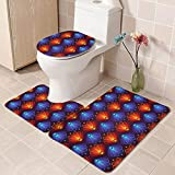 Bath Mat Set Non Slip Orange Blue Flower 3 Piece Bathroom Rug Set Non-Slip Shower Rugs Pedestal Mat + Contour Rug + Toilet Lid Cover Soft Comfortable Shower Bathroom Rugs Mats Sets