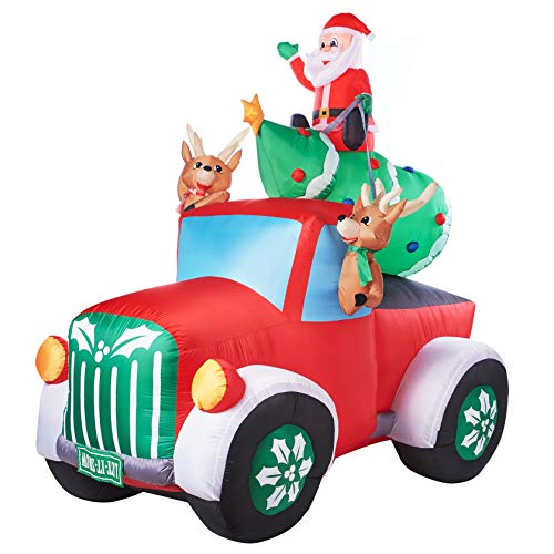Holiday Time Santa Truck Retro Truck with Reindeer, Airblown Inflatable 8 Feet
