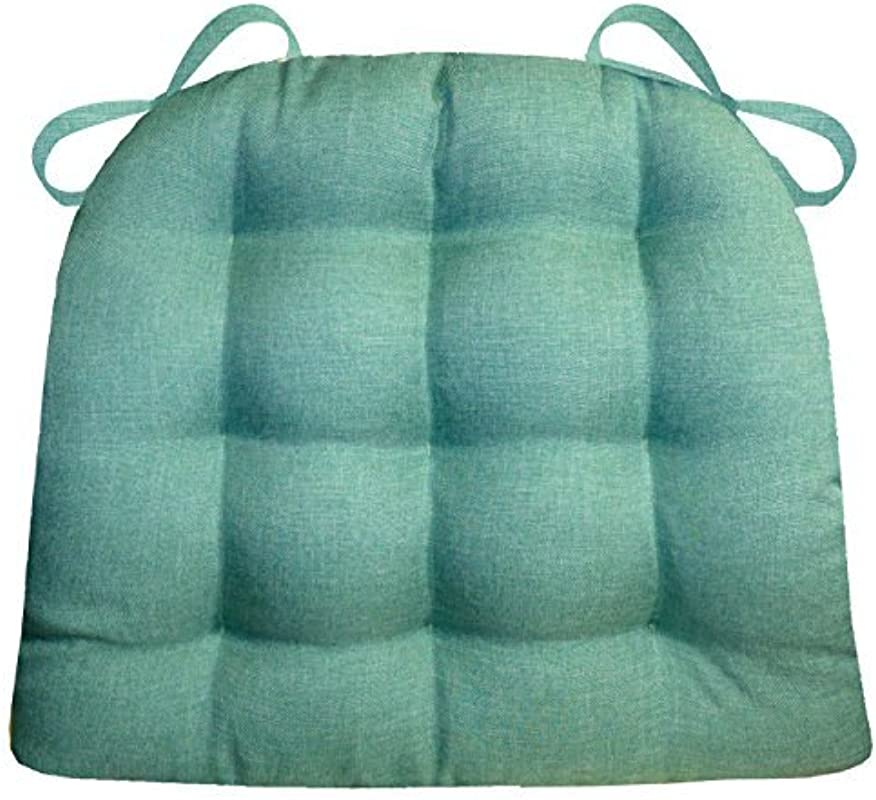 Barnett Products Dining Chair Pad With Ties Hayden Turquoise Heathered Plain Weave Size Standard Reversible Latex Foam Filled Cushion Machine Washable Aqua Teal