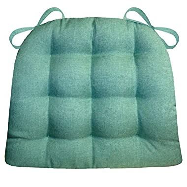 Barnett Products Dining Chair Pad with Ties - Hayden Turquoise Heathered Plain Weave - Size Standard, Reversible, Latex Foam Fill, Machine Washable (Aqua, Teal)