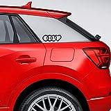 Autodomy Confezione Adesivi Compatibile con Audi Anelli Cuore 2 Pezzi per Auto (Nero)