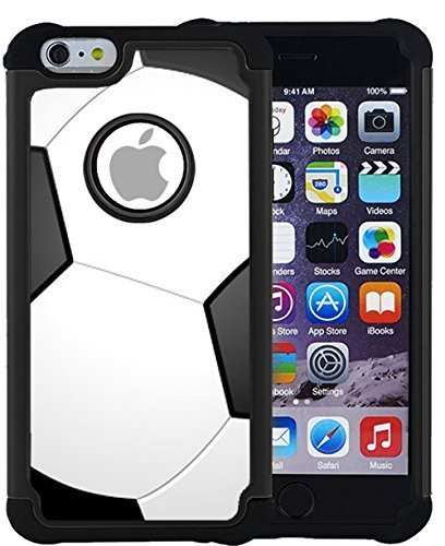 Corpcase Hybrid Case Compatible with iPhone 6 Plus/iPhone 6S Plus-Soccer-Sturdy High Impact Shockproof Protective Case/Cover