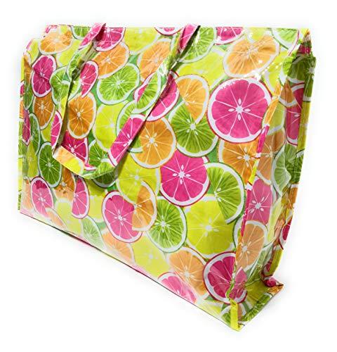 BRANDELIA Bolso Grande Plástico Playa Compras Mujer Bolso Impermeable con Cremallera, Frutas Limones