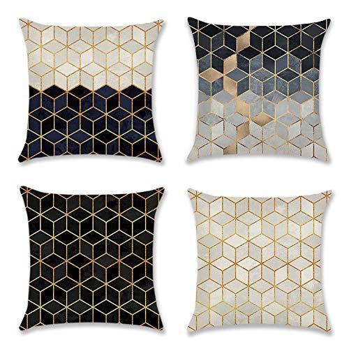 Artscope Lot DE 4 Housse De Coussin, Polyester et Lin Décoratif Taie d'oreiller Canapé Voiture Maison Décor Housses de Coussin 45 x 45 cm (Marbre)