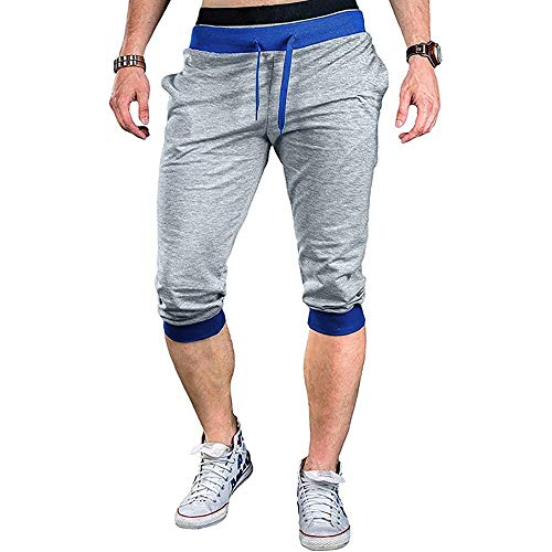 PIQEIR Men's 3/4 Jogger Capri Pants Below Knee Short Sweatpants (Light Grey, M)