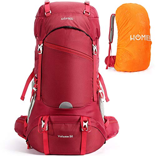 HOMIEE Hiking Backpack 50L Travel Camping Daypack with Hydration(Wine Red)