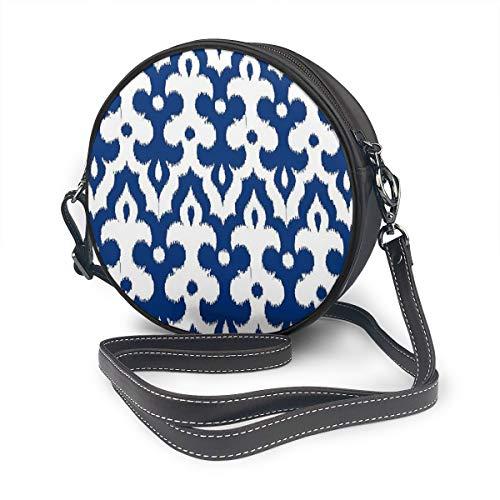 Ronde Handtas Satchel Crossbody Tassen PU Lederen Rits Schoudertas Ronde Kantine Handtas Voor Vrouwen Marokkaanse Ikat Damask Kobalt Blauw En Wit Aangepast