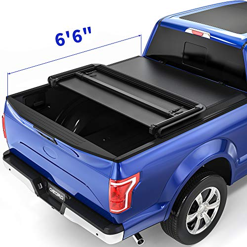 oEdRo Soft Tri-fold Truck Bed Tonneau Cover On Top Compatible with 2015 2016 2017 2018 2019 2020 Ford F-150 F150 with 6.6ft Bed, Styleside