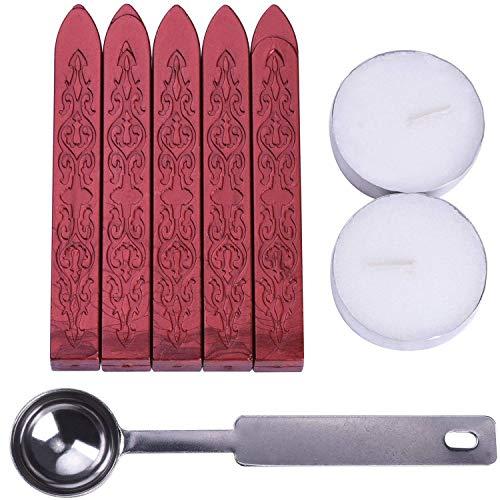 Siegellack Sticks, 5 Stück Siegelwachs mit 2 Stück Kerzen und 1 Stück Löffel für Wachssiegel Briefumschläge Brief Briefeinladungskarte (Weinrot)