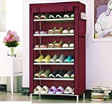 PYXBE Multipurpose Portable Folding Shoes Rack 6 Tiers Multi-Purpose Shoe Storage Organizer Cabinet Tower with Iron and Nonwoven Fabric with Zippered Dustproof Cover (Maroon)(Shoes Rack for Home) waterproof bag Jan, 2021
