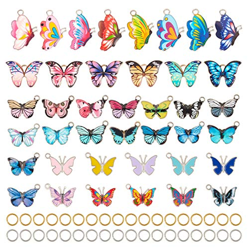 PandaHall - Ciondoli in lega smaltata, con 40 pezzi, 40 stili, con 80 pezzi, oro e argento, 8 mm, calibro 18, per orecchini, bracciali, collane, gioielli fai da te