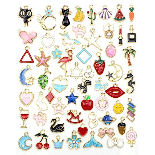 60Pcs Charms for Jewellery Making Assorted Gold Plated Enamel Animal Moon Star Fruit Charm Pendant DIY Necklace Bracelet Earring Crafts