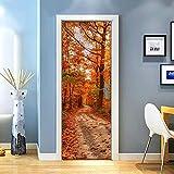 KEXIU 3D Sendero del bosque rojo y verde PVC fotografía adhesivo vinilo puerta pegatina cocina baño decoración mural 77x200cm
