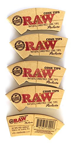 Imagen del producto5 x RAW Natural Rolling Cone TIPS - 32 tips per booklet (total 160 tips) by RAW