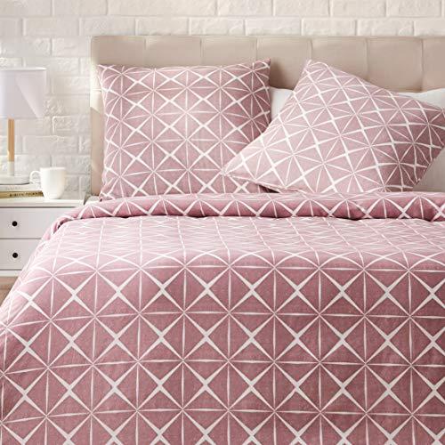 Amazon Basics - Juego de ropa de cama con funda de edredón, de satén, 260 x 240 cm / 65 x 65 cm x 2, Malva cuarzo