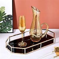 化粧トレイ 化粧オーガナイザー華やかなディスプレイトレイのためのヴィンテージの家の装飾的なトレイのミラーのガラス金属の虚栄心のトレイ ロッカー用装飾トレイ (Color : Black, Size : 42x23x5cm)