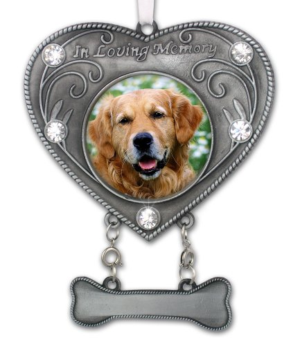 BANBERRY DESIGNS Dog Memorial Photo Ornament - in Loving Memory Pet Keepsake - Heart Shaped Picture Opening with Crystals - Dog Sympathy Gift - Dog Remembrance - Dog Bereavement