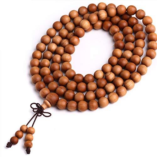 J.Memi's 108 Perlen Mala Sandelholz Armband Buddhismus Handgemacht Elegant Schmuck Armreif Weihnachten Thanksgiving Geburtstag Geschenk Unisex,10MM