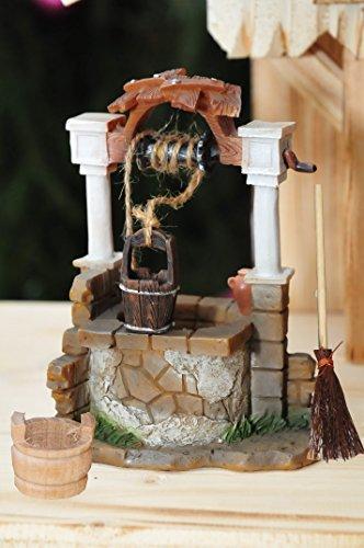 Krippenbeleuchtung Krippendeko - Orientalischer Brunnen, mit LED / Licht, EIN-AUS-Schalter und Lämpchen + Holzeimer + Reisigbesen, ÖLBAUM Original-Krippenbeleuchtung für Weihnachtskrippe, historische