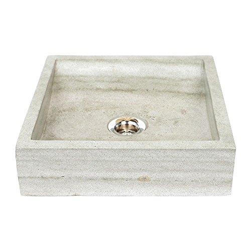 wohnfreuden Sandstein Aufsatz-Waschbecken Mini Perahu 30 cm grau rechteckig gehämmert