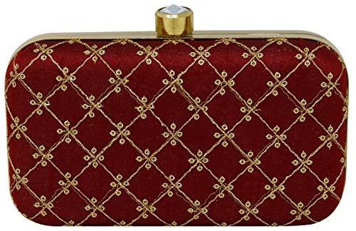 Filora Women's Handicraft Party Wear Hand Embroidered Box Clutch (Maroon)