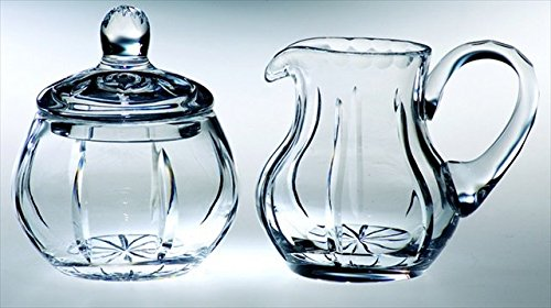 Majestic Gifts Joy Handcut Mouth Blown Sugar & Creamer, Clear