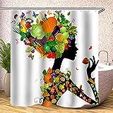 Fmiljiaty Artwork Print Obst Mädchen Duschvorhang Set Kit mit Badematte Dekor Home Badezimmer Teppich Duschvorhänge -180 * 180CM