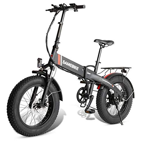 Gaoyanhang Bicicleta eléctrica - 350 8Ah Neumático de Grasa Bicicleta eléctrica 20'Marco Plegable de Aluminio 7speed (Color : Black)