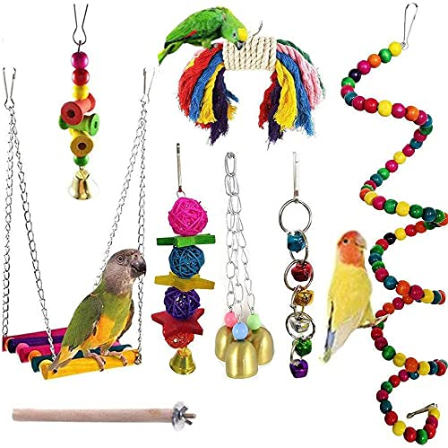 JIAYUE Bird Parrot Toys - 8 Pieces, Parrot Chewing Toys Bird Cage Accessories Perfect Bird Toy Used...