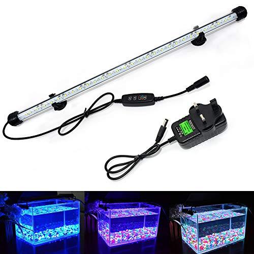VARMHUS LED Aquarium Beleuchtung, Aquarium Lampe weiß und blau Farbwechsel, tauchbares Aquarium Licht mit kleinem einfachen Aquarium Timer für Sonnenaufgang und Sonnenuntergang
