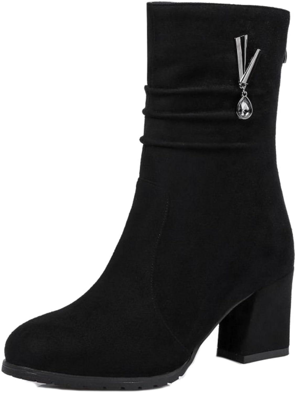 AicciAizzi Women Fashion Slouch Dress Boots Heels Zipper Mini Sizes