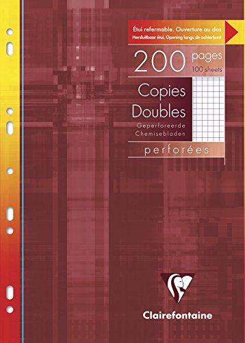Clairefontaine 47122C - Un etui carton de 200 pages Copies doubles perforees blanches 21x29,7 cm 90g petits carreaux avec marge