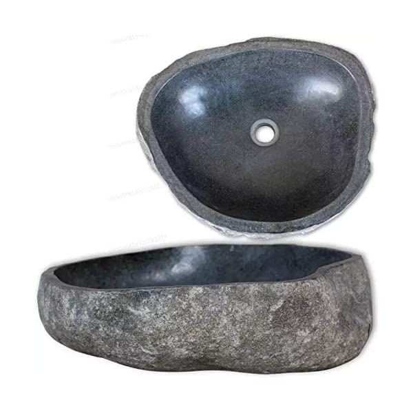 Oakome Lavabo Sobre Encimera Material Oval de piedra de río para Hogar Baño Servicio Moderno y Elegante