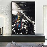 Fútbol Fútbol Deportes Estrella Rey FC Barcelona # 10 Leo Messi Lienzo Pintura Arte de la pared Cartel Niños Fans Dormitorio Sala de estar Club Estudio Decoración para el hogar Mural