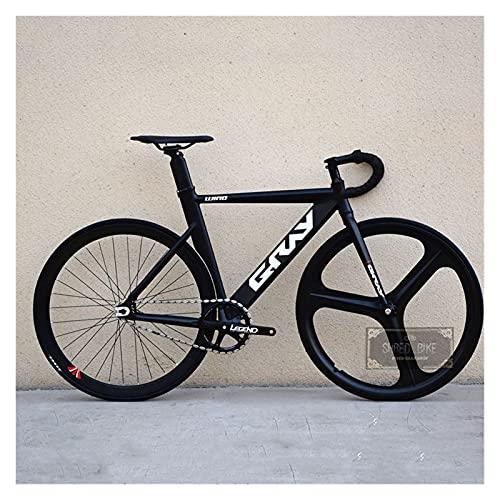 Story Bicicleta de Engranajes fijos 48 cm 52 cm 55 cm Bicicleta de Aluminio de Aluminio de una Sola Velocidad de Aluminio Bicicleta 700C 3/4 radios RAPA DE RACIDO V Freno (Color : Black, Size : 1)