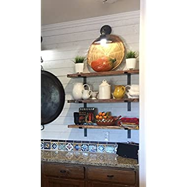 Farmhouse Industrial Shelf by THE FALLING TREE (36 x 10 x 1.5 inches) Espresso rustic floating