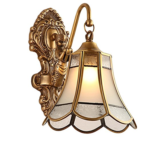 Kronleuchter Aplique de Pared de Estilo nórdico de Cobre, Dormitorio de Estilo neoclásico, lámpara de Pared de jardín, 7,9 * 13,8 Pulgadas