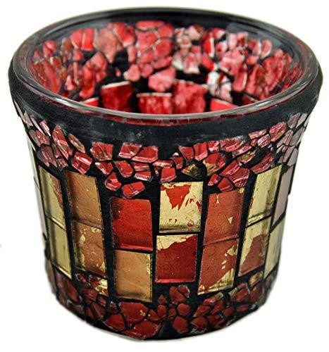 Teelichthalter / Windlicht Glas Mosaik - rot - 8x7cm