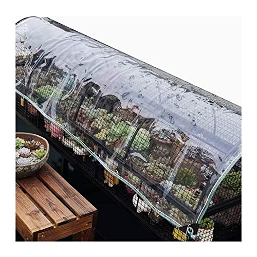 WZNING Heavy Duty Tarp, Transparent Garden Thick 0.3 Mm Cover, with Metal Grommets 400g /m² Tarpaulin for Area Patio Camping RV Gardening Carport Garage Gazebo Durable and protective