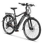 breluxx Bicicleta eléctrica Cross Men Black 28' Urban City E-Bike eléctrica Pedelec 36 V, 250 W, 13 Ah, Frenos de Disco, Cambio Shimano Acera, Color Negro
