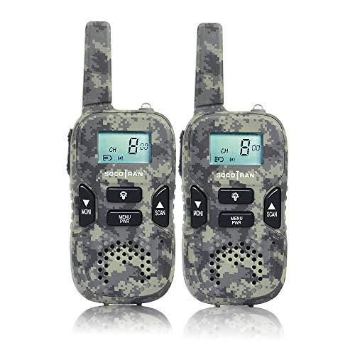 SOCOTRAN Walkie Talkie Bambini Radio Portatile Confezione da 2 PMR446 Senza Licenza Radio a 2 vie 3 KM a Lungo Raggio 8CH 0,5 W PTT VOX e Amici Escursionismo, Pattinaggio Campeggio